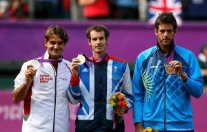 اندی ماری، راجر فدرر و خوان مارتین دلپوتر به ترتیب نفرات اول تا سوم تنیس المپیک لندن