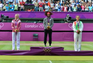 سرینا ویلیامز مدال طلا، ماریا شاراپووا مدال نقره، ویکتوریا آزارنکا مدال برنز تنیس المپیک لندن
