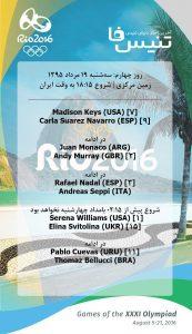 برنامه روز چهارم تنیس ریو در زمین مرکزی